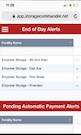 Storage Commander mobile dashboard