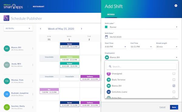 Schedule Publisher add shift