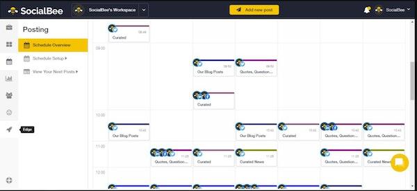 SocialBee schedule overview