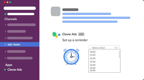 Clever Ads for Slack & MS Teams reminders