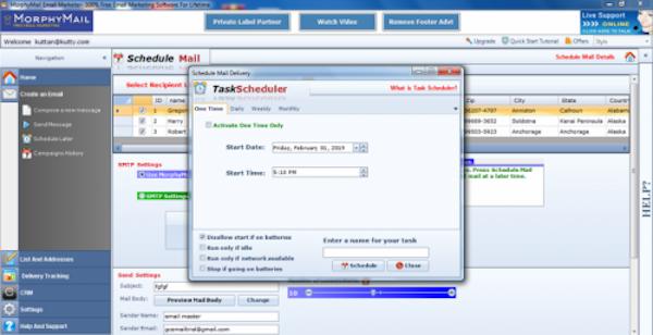 MorphyMail scheduled sending screenshot
