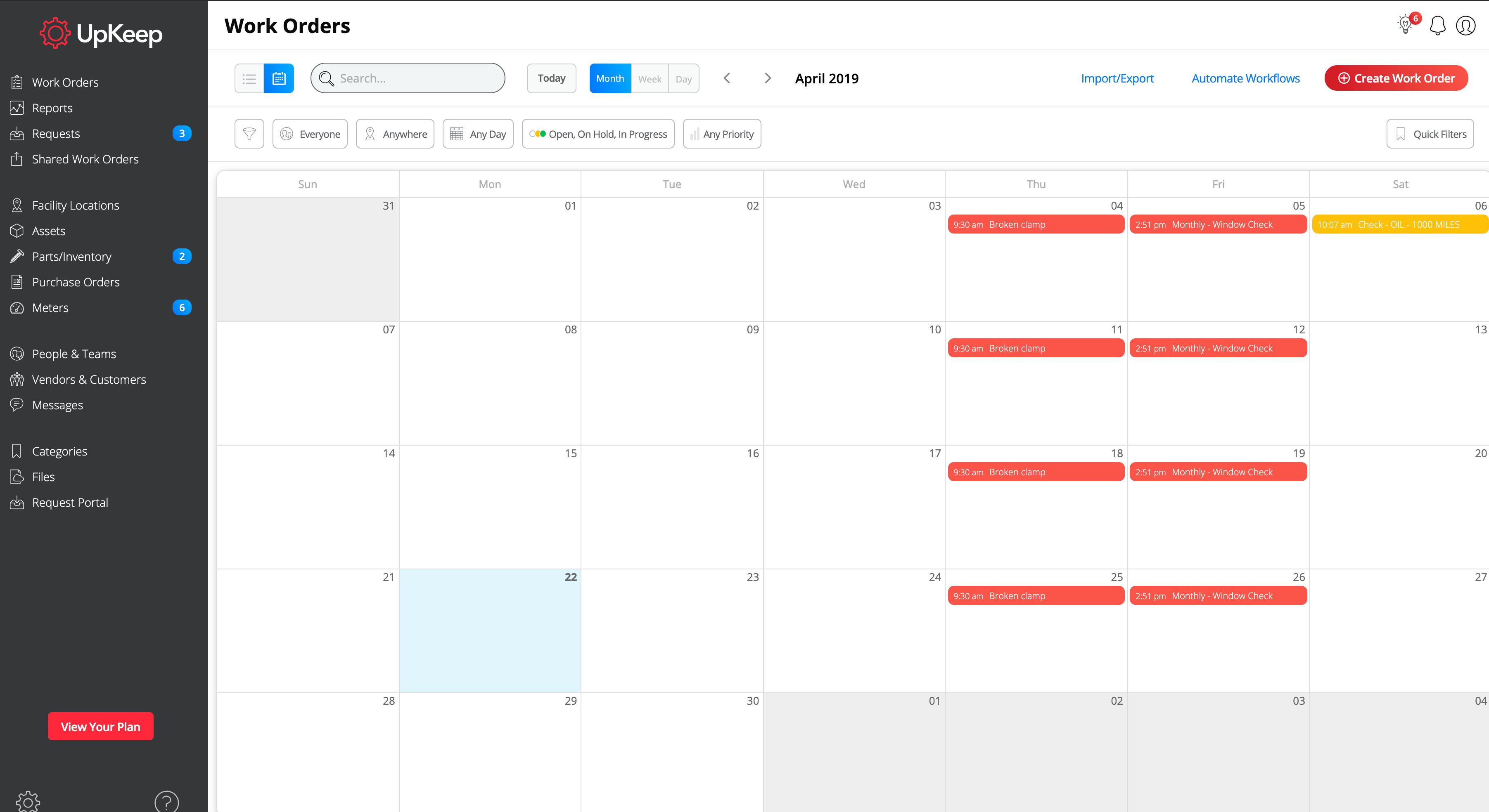 Schedule work orders