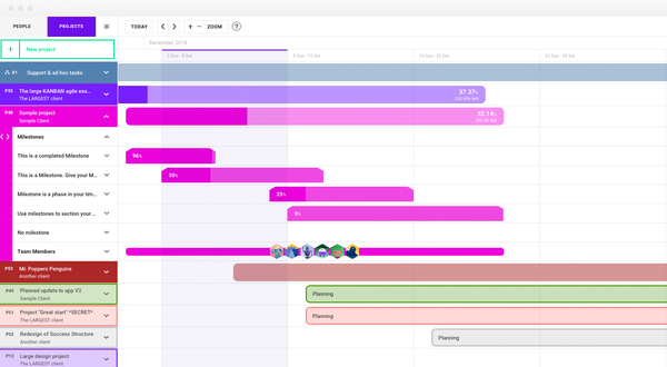 Scheduling project view