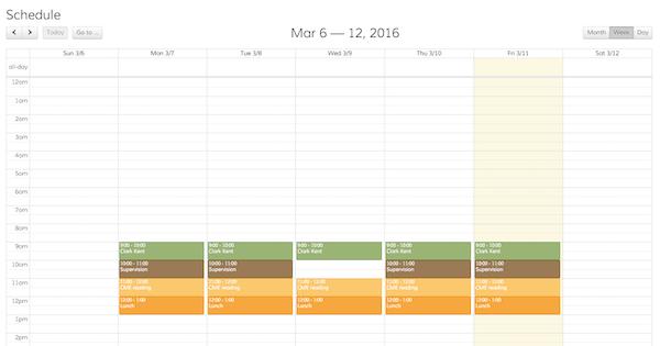 Luminello calendar screenshot