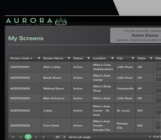 Aurora screen management