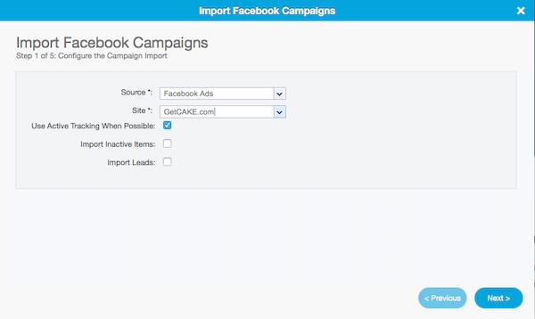CAKE Facebook integration screenshot