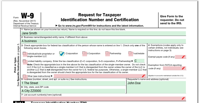 Example tax form