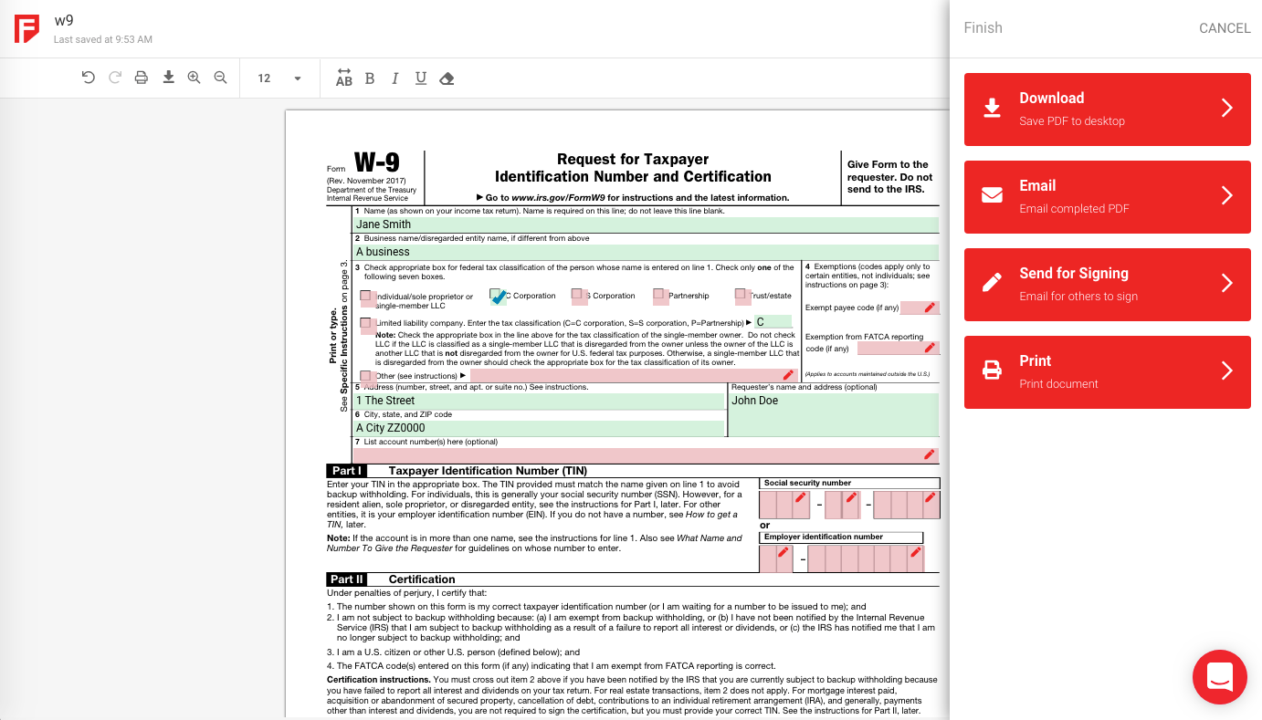 Form download and print options