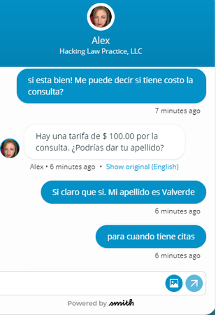 Smith.ai english to spanish translation screenshot