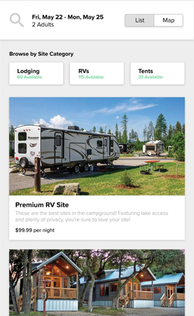 Campspot mobile dashboard