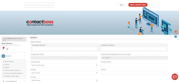 Contact Boss search screenshot