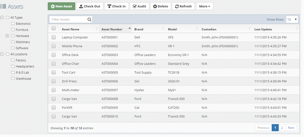 Asset Manager Web Edition Lists