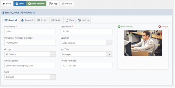 Asset Manager Web Edition Personnel Details