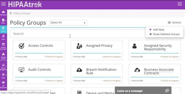HIPAAtrek policy groups screenshot