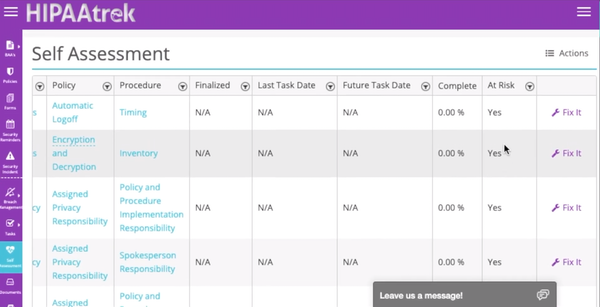 HIPAAtrek self assessment screenshot