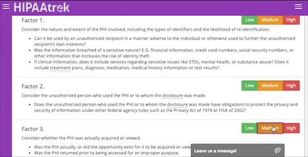 HIPAAtrek breach management screenshot