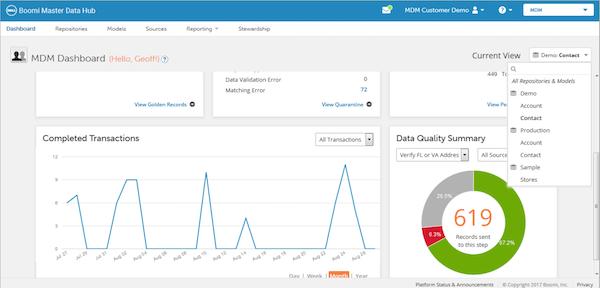 Boomi Master Data Hub Dashboard