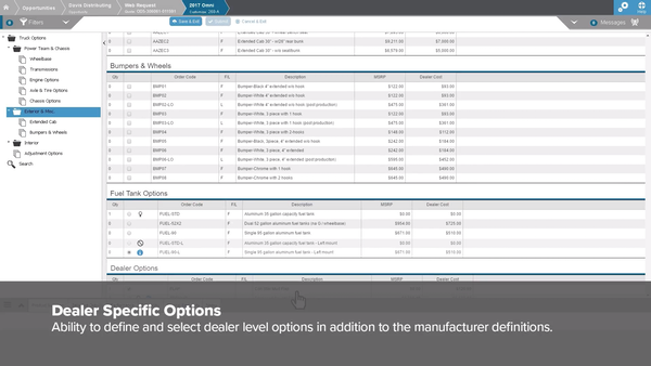 FPX CPQ dealer specific options