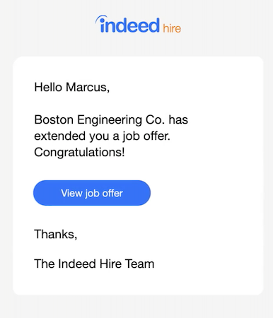 Indeed Hire job offer