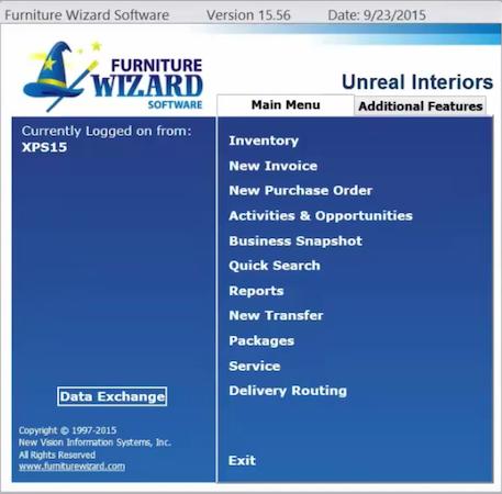 Furniture Wizard main menu