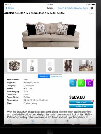 Furniture Wizard mobile app item details
