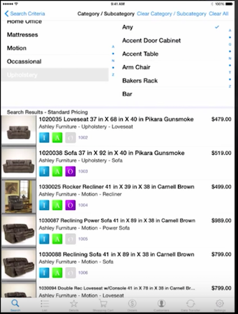 Furniture Wizard mobile app search results