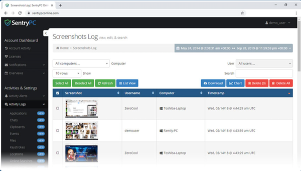 SentryPC screenshots log