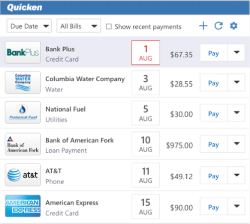 Quicken manage bills