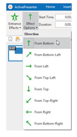 ActivePresenter effect options