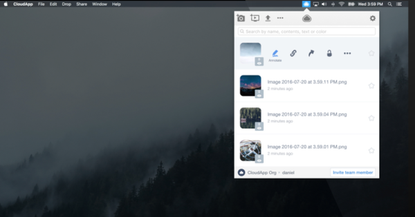 CloudApp accessible from toolbar