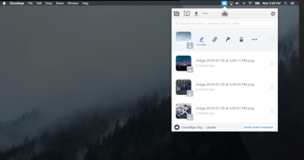 ツールバーからアクセス可能なCloudApp