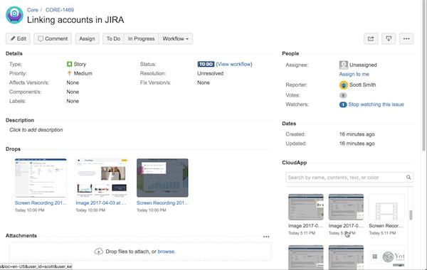CloudApp drop recordings/Gifs in Jira