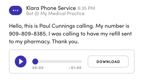 Klara voice-to-text transcription