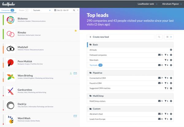 Leadfeeder top leads