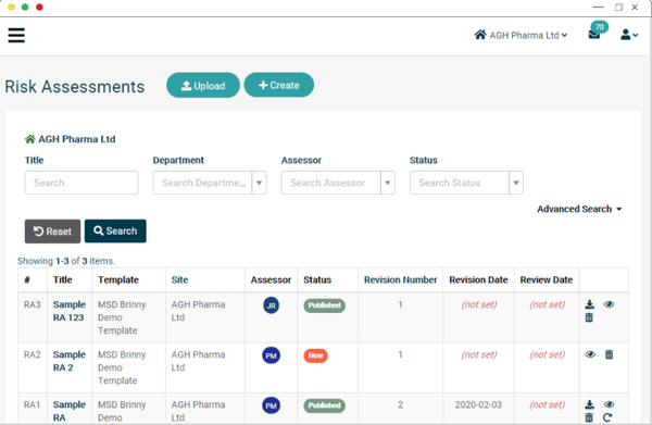 EcoOnline Platform - risk assessments