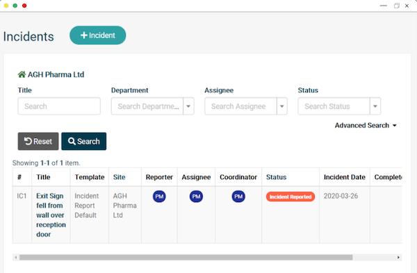 EcoOnline Platform - incident management