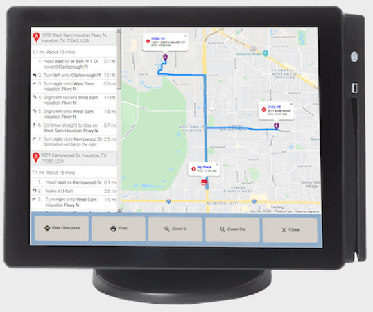 HungerRush POS integrates with Google maps