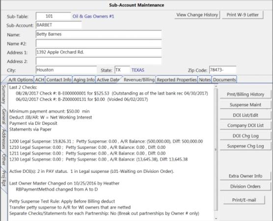 WolfePak ERP sub-account maintenance