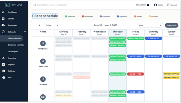 FirstVisit - client schedule
