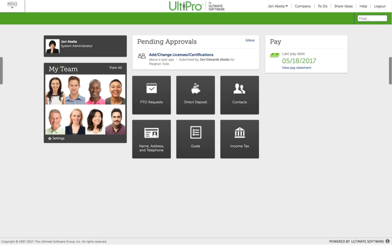 UKG Pro - UltiPro - Dashboard