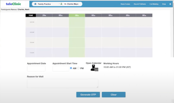 teleClinic appointment scheduling