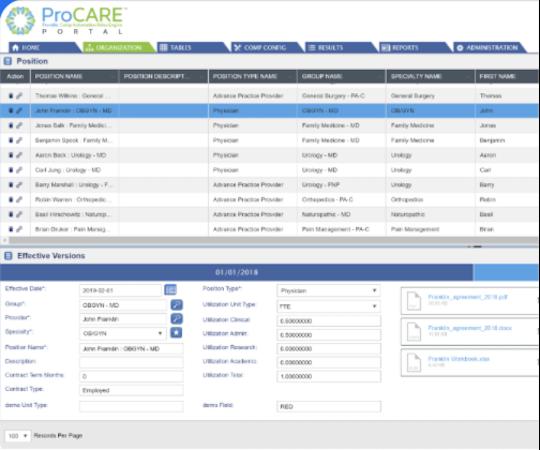 ProCare Portal organization screen
