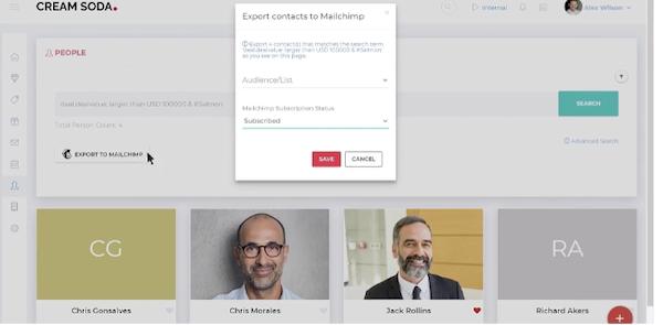 CreamSoda export contacts to MailChimp