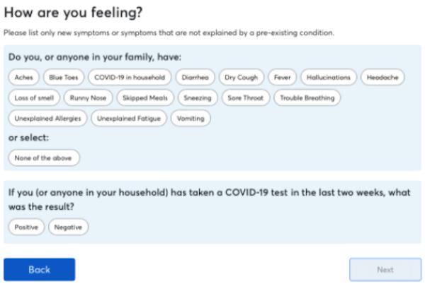 FeverIQ symptom question