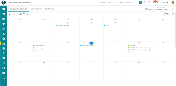 CaseFox task and event calendar
