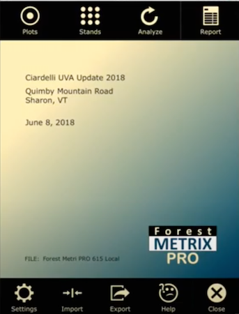 Forest Metrix Pro - home page