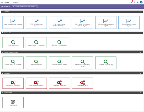 Ipro for Enterprise reports screenshot