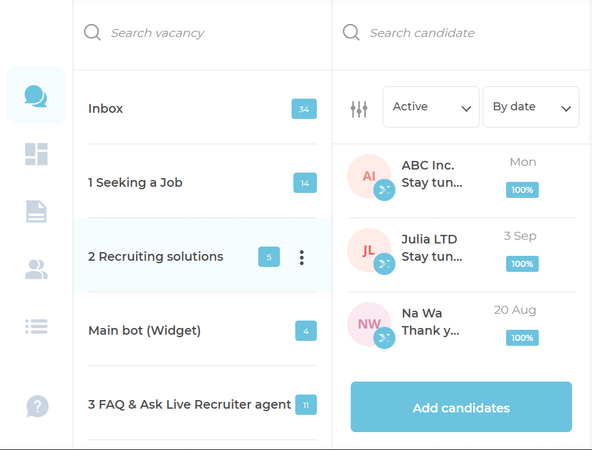 Live Recruiter search functionality