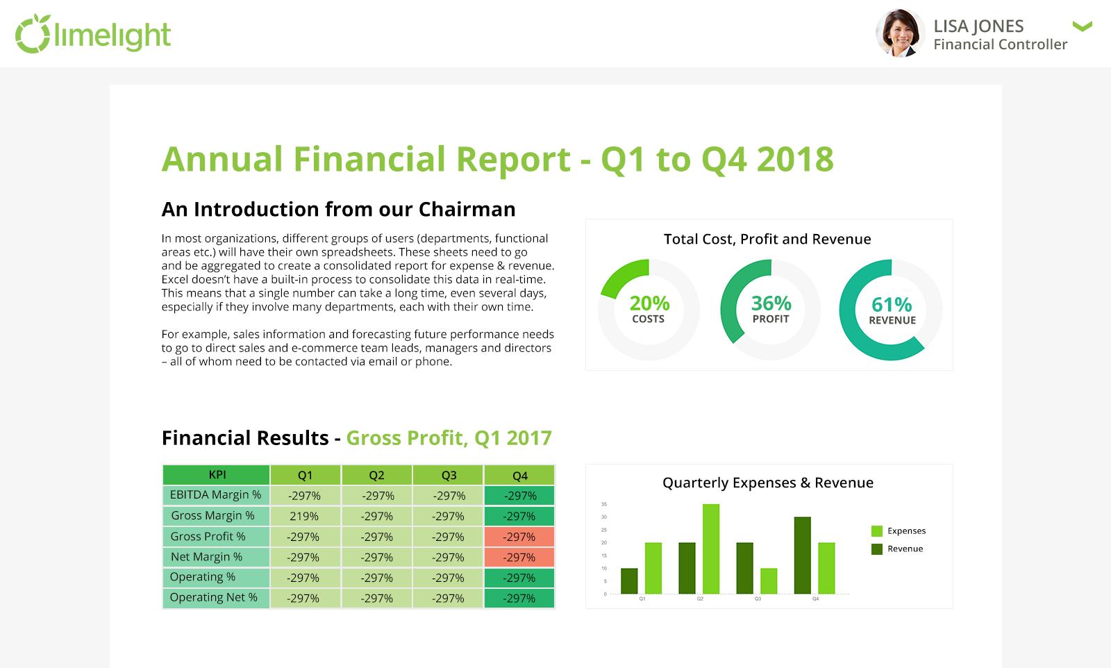 Financial report generator
