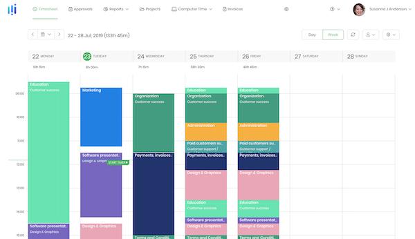 Timecamp weekly timesheet
